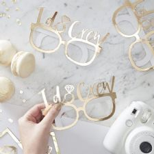 White & Gold I Do Crew Hen Party Glasses - I Do Crew
